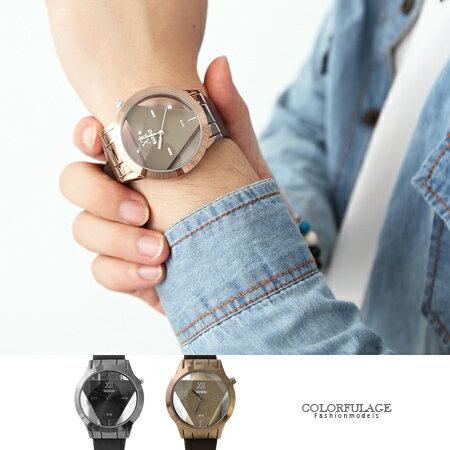 手錶 簡約立體透明三角 皮革腕錶 獨特鏤空 中性款  柒彩年代~NE1544~
