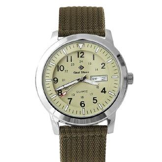 手錶 紳士型男軍用綠色帆布腕錶 搭戴SEIKO精工VX43石英機芯 柒彩年代【NE1469】單支售價