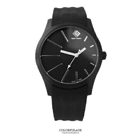 手錶 沉穩黑色偏心錶盤 搭戴SEIKO精工VX43石英機芯 柒彩年代~NE1470~單支售