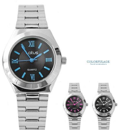 手錶 時尚簡約黑面羅馬數字不鏽鋼腕錶 知性都會風格 柒彩年代【NE1519】單支