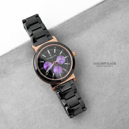 Valentino范倫鐵諾 精密全黑陶瓷玫瑰金三眼手錶腕錶 日期.星期.24小時 柒彩年代【NE1531】單支價格