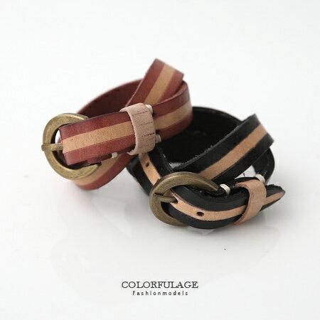 手環手鍊 雙色皮革纏繞皮帶扣式手環 簡約紮實真皮單品 復古銅色扣頭 柒彩年代【NAB8】單條 0