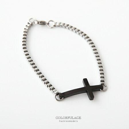 手環手鍊 方型造型銀色質感串連十字架手環手鍊 簡約時尚展露品味穿搭 柒彩年代【NA325】單條