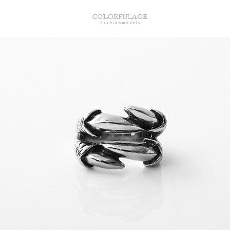 戒指 立體個性鷹爪造型白鋼製食指環 抗過敏抗氧化 率性寬版戒 柒彩年代【NC185】個性潮男