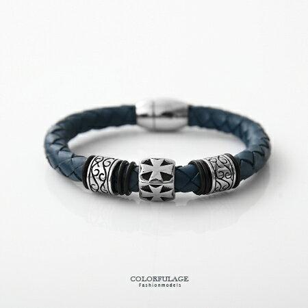 手鍊 十字刻紋民族風編織皮革手環 經典時尚 低調龐克個性品味 柒彩年代【NA345】幾何元素 0