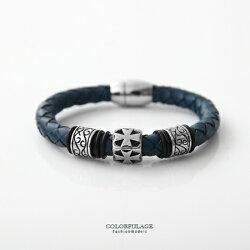 手鍊 十字刻紋民族風編織皮革手環 經典時尚 低調龐克個性品味 柒彩年代【NA345】幾何元素