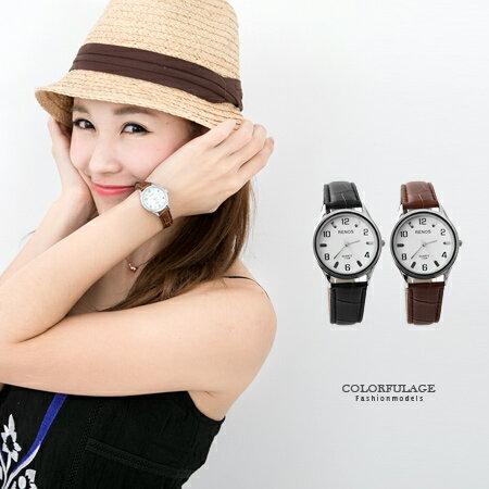 手錶 簡單設計雙號數字壓紋皮革錶帶手錶 中性款情侶對錶 柒彩年代【NE1558】單支