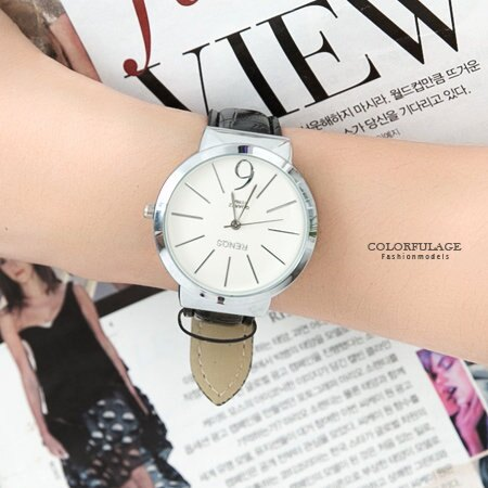 手錶 簡單線條刻度設計經典數字6皮革錶帶手錶 情侶對錶 柒彩年代【NE1559】單支