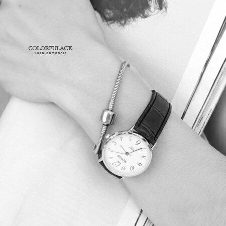 手錶 極簡基本清晰數字壓紋仿皮革錶帶手錶 中性款情侶對錶  柒彩年代【NE1560】單支 0