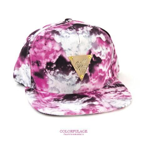 棒球帽 桃紅色渲染風格金色三角潮流平板帽 佩戴舒適透氣 可遮陽裝飾 柒彩年代【NH193】中性款 0