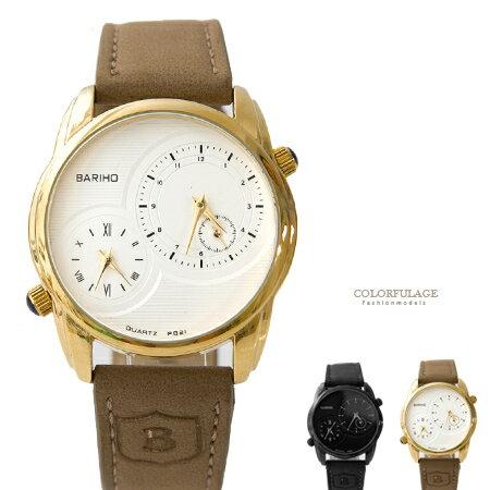 手錶 時尚雙時區設計質感仿麂皮錶帶腕錶 品味十足 紳士型男款式 柒彩年代【NE1594】單支 0