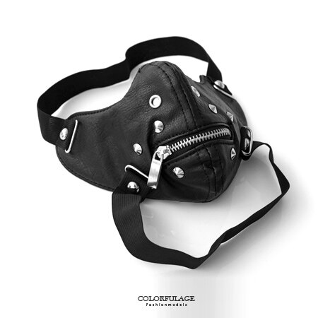 面罩 日系拉鍊鉚釘造型皮革面具口罩 皮革製作龐克風格 柒彩年代【NM46】舞蹈表演配件 0