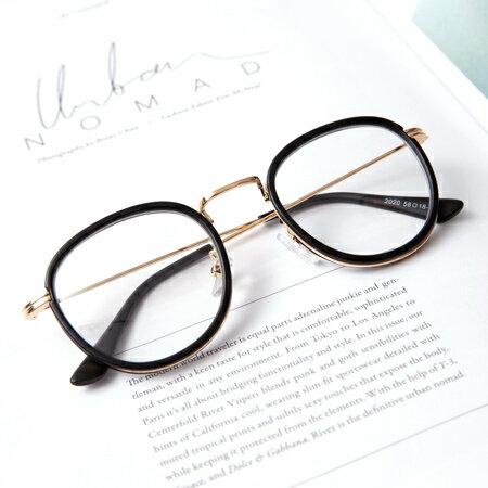 鏡框 日系金屬腳架質感霧框造型平光眼鏡 輕巧小框設計 文青風格 柒彩年代【NY323】超人氣款 - 限時優惠好康折扣