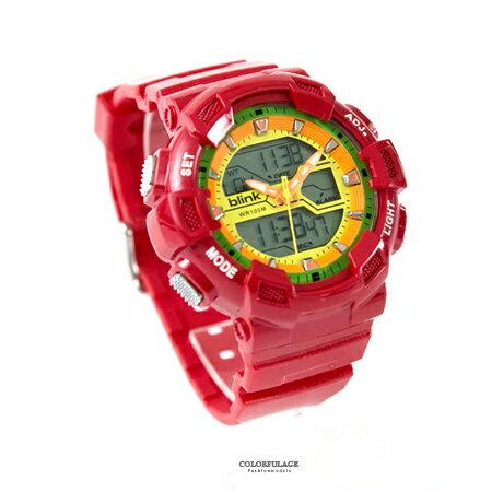 JAGA捷卡blink系列 紅色多功能休閒運動風雙顯電子膠錶 防水100米 柒彩年代【NE1818】原廠 - 限時優惠好康折扣