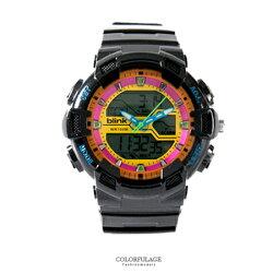 JAGA捷卡blink系列 黑色多功能休閒運動風雙顯電子膠錶 防水100米 柒彩年代【NE1817】原廠