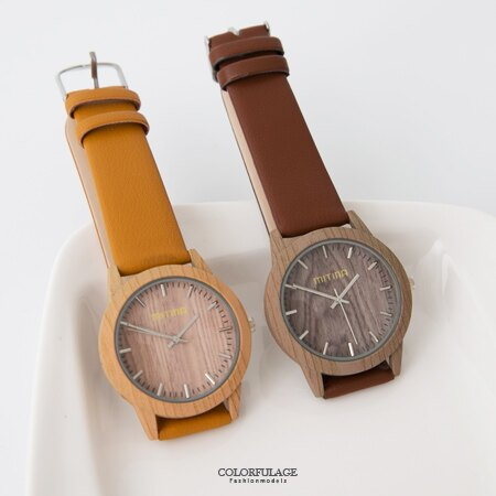 手錶 潮流復古仿木紋錶殼腕錶 質感皮革錶帶 文青風的首選 柒彩年代【NE1652】 - 限時優惠好康折扣