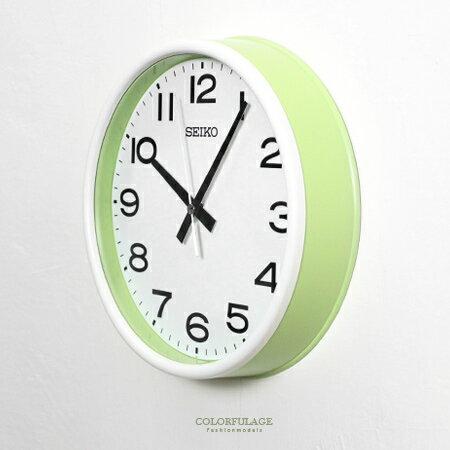 SEIKO精工時鐘 陽光青春氣息蘋果綠外框設計掛鍾 滑動式靜音秒針 柒彩年代【NG1736】原廠公司貨 - 限時優惠好康折扣