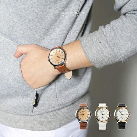 手錶 羅馬數字刻度獨立秒盤質感皮革錶帶腕錶 大小款對錶選擇 柒彩年代【NE1690】單支售價 - 限時優惠好康折扣