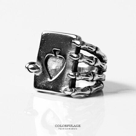 戒指 個性手爪黑桃書本造型食指環戒 鋼製材質俏皮設計 抗過敏/ 氧化 柒彩年代【NC192】創意十足 0
