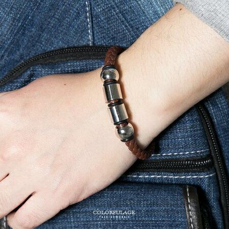 手鍊 潮流個性咖啡型男編織皮革白鋼四環造型手環 經典時尚 低調品味 柒彩年代【NA370】簡約元素 0