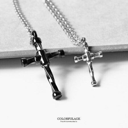 項鍊 經典質感扭轉造型十字架白鋼項鍊 立體層次感 情侶對鍊 抗過敏.氧化 柒彩年代【NB680】單條 - 限時優惠好康折扣