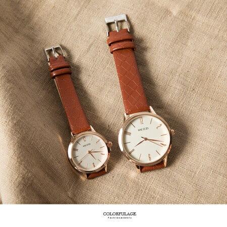 手錶 玫瑰金圓框數字簡約刻度造型皮革腕錶 男女對錶 色彩亮眼 柒彩年代【NE1687】單支 - 限時優惠好康折扣