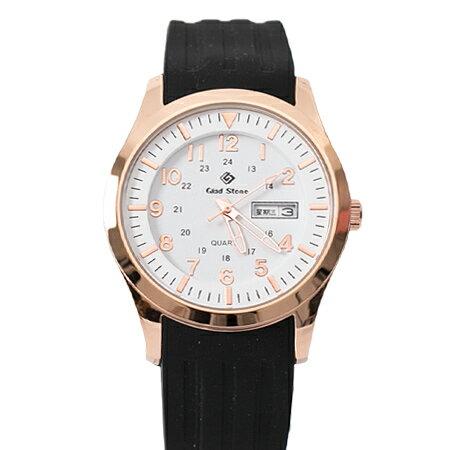 手錶 玫瑰金錶殼刻度數字白面矽膠腕錶 搭戴SEIKO精工VX43石英機芯 柒彩年代【NE1793】30米防水 - 限時優惠好康折扣