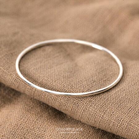 手鍊 925純銀 百搭實心素面圓形款手環 簡約大方樸實美感 抗過敏材質 柒彩年代【NPA33】簡約概念 - 限時優惠好康折扣