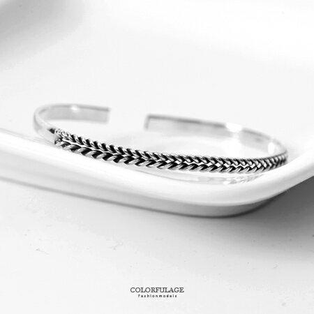 手鍊 925純銀 鏤空麻花造型旋轉編織感C字開口手環 大方率性 柒彩年代【NPA35】自用/送禮的好選擇