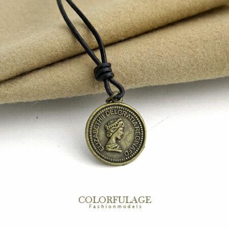 項鍊 玩味復古潮流 仿舊歐美人像金幣錢幣造型可調式長項鍊 柒彩年代【NB591】中性單品 0