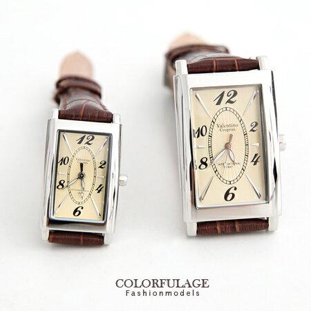 Valentino范倫鐵諾 切割美學經典格紋皮革手錶腕錶對錶 柒彩年代【NE1226】單支價格