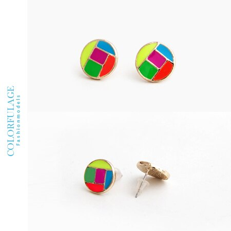 耳環 趣味格子螢光彩色圓形撞色風格耳針耳環 俏皮流行單品 柒彩年代【ND168】一對價格