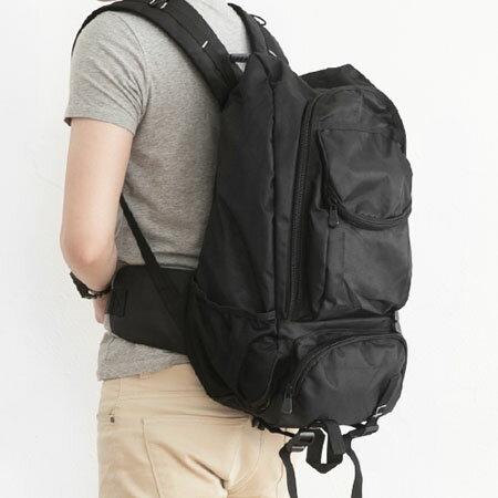 功能性後背包 全素面低調黑超實用 運動大容量休閒包 柒彩年代【NZ381】學院風 0