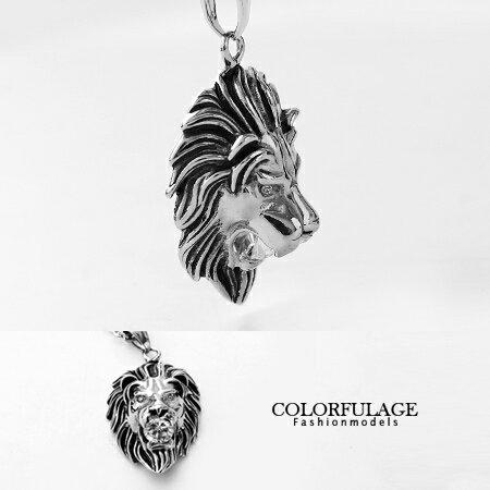 不鏽鋼項鍊 鋼製狂野立體獅子咬華麗水鑽 型男鋼墜 獨特野蠻風格 柒彩年代~NB568~贈鋼