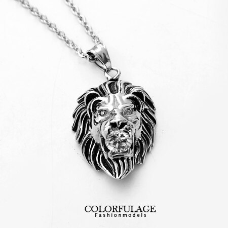 不鏽鋼項鍊 鋼製狂野立體獅子咬華麗水鑽造型 型男鋼墜 獨特野蠻風格 柒彩年代【NB568】贈鋼鍊 0