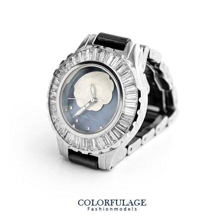 Valentino范倫鐵諾 獨特浮雕山茶花方晶鋯石黑色精密陶瓷手錶腕錶 柒彩年代【NE1251】單支價格