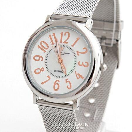 范倫鐵諾Valentino 玫瑰金數字鋼索錶帶手錶腕錶 中性款 對錶 原廠公司貨 柒彩年代【NE1250】單支