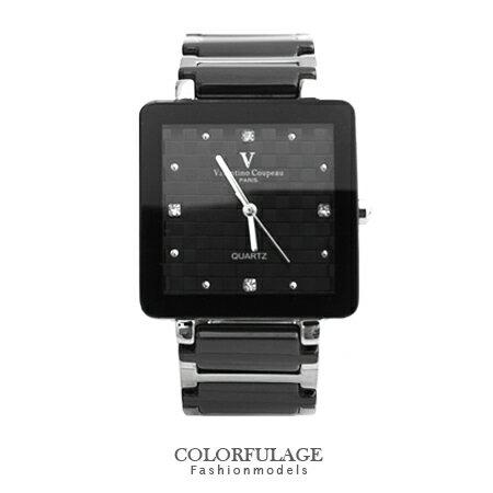 Valentino范倫鐵諾 經典格紋錶盤設計精密陶瓷方形手錶腕錶 柒彩年代【NE1247】原廠公司貨