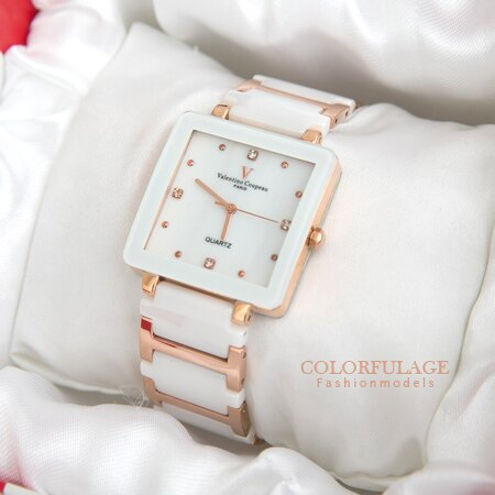 Valentino范倫鐵諾 珍珠貝面錶盤設計精密白陶瓷玫瑰金方形手錶腕錶 柒彩年代【NE1246】原廠公司貨