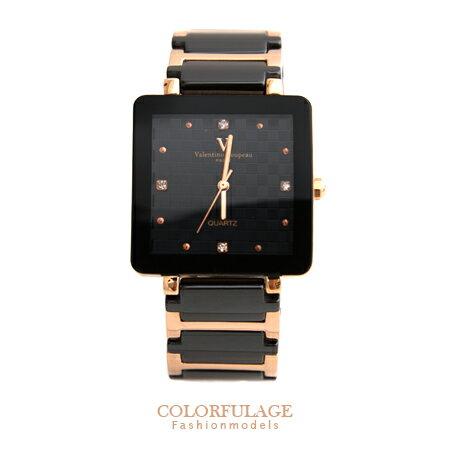 Valentino范倫鐵諾 經典格紋錶盤設計精密陶瓷玫瑰金方形手錶腕錶 柒彩年代【NE1245】原廠公司貨 0