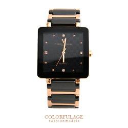 Valentino范倫鐵諾 經典格紋錶盤設計精密陶瓷玫瑰金方形手錶腕錶 柒彩年代【NE1245】原廠公司貨