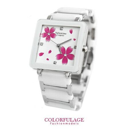 Valentino范倫鐵諾 浪漫櫻花精密陶瓷方形手錶腕錶 原廠公司貨 柒彩年代【NE1244】單支 0