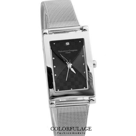 Valentino范倫鐵諾 精緻格紋錶盤鋼索材質腕錶手錶 獨特切割鏡面 柒彩年代【NE1242】原廠公司貨 0