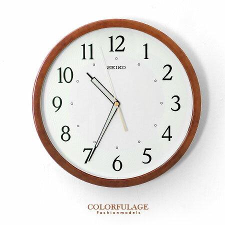 SEIKO精工時鐘 典雅琥珀 圓形夜光掛鐘 滑動式靜音秒針 古色古香 柒彩年代【NE1276】原廠公司貨