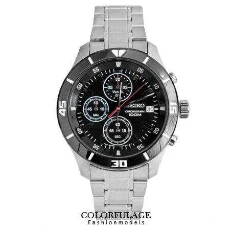 SEIKO精工黑框黑面三眼計時賽車腕錶 防水高達100米不銹鋼手錶 柒彩年代【NE1261】附贈禮盒+提袋