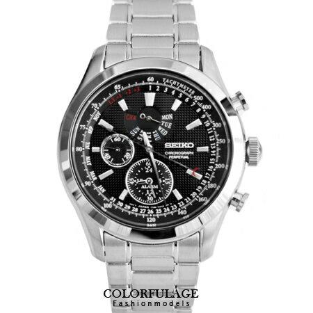 SEIKO精工腕錶 精工三眼計時黑鏡面原廠石英手錶 防水100米 柒彩年代【NE1263】附贈禮盒+提袋