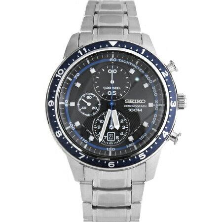 SEIKO精工炫藍放射錶盤三眼計時賽車腕錶 百米防水不銹鋼手錶 柒彩年代【NE1264】附贈禮盒+提袋