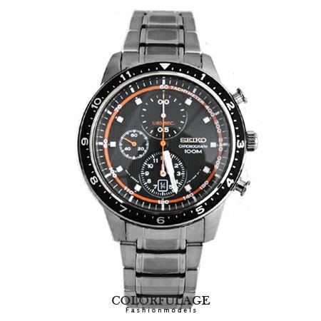 SEIKO精工炫采放射錶盤三眼計時灰黑腕錶 百米防水不銹鋼手錶 柒彩年代【NE1266】附贈禮盒+提袋 0
