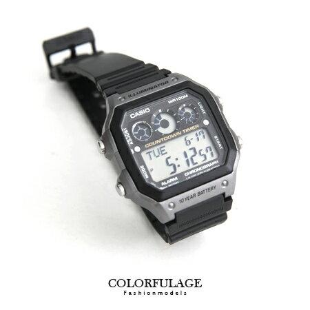 CASIO卡西歐 環保風格 十年電力黑灰電子錶盤手錶 計時碼錶 100M防水 柒彩年代~N
