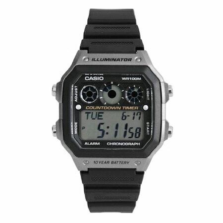 CASIO卡西歐 經典環保風格 十年電力黑灰電子錶盤手錶 計時碼錶 100M防水 柒彩年代【NE1284】原廠貨 0